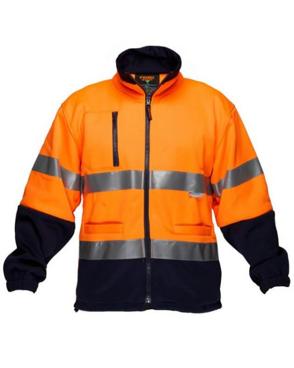 PRIME MOVER Hi-Vis Water Repellent Brush Fleece Jacket with Tape